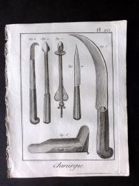 Diderot 1780's Antique Medical Print. Chirurgie 20 Surgical Instruments